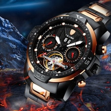 TEVISE Sports Mechanical Wristwatch Men Stainless Steel Fashion Automatic Watch Top Brand Sapphire B