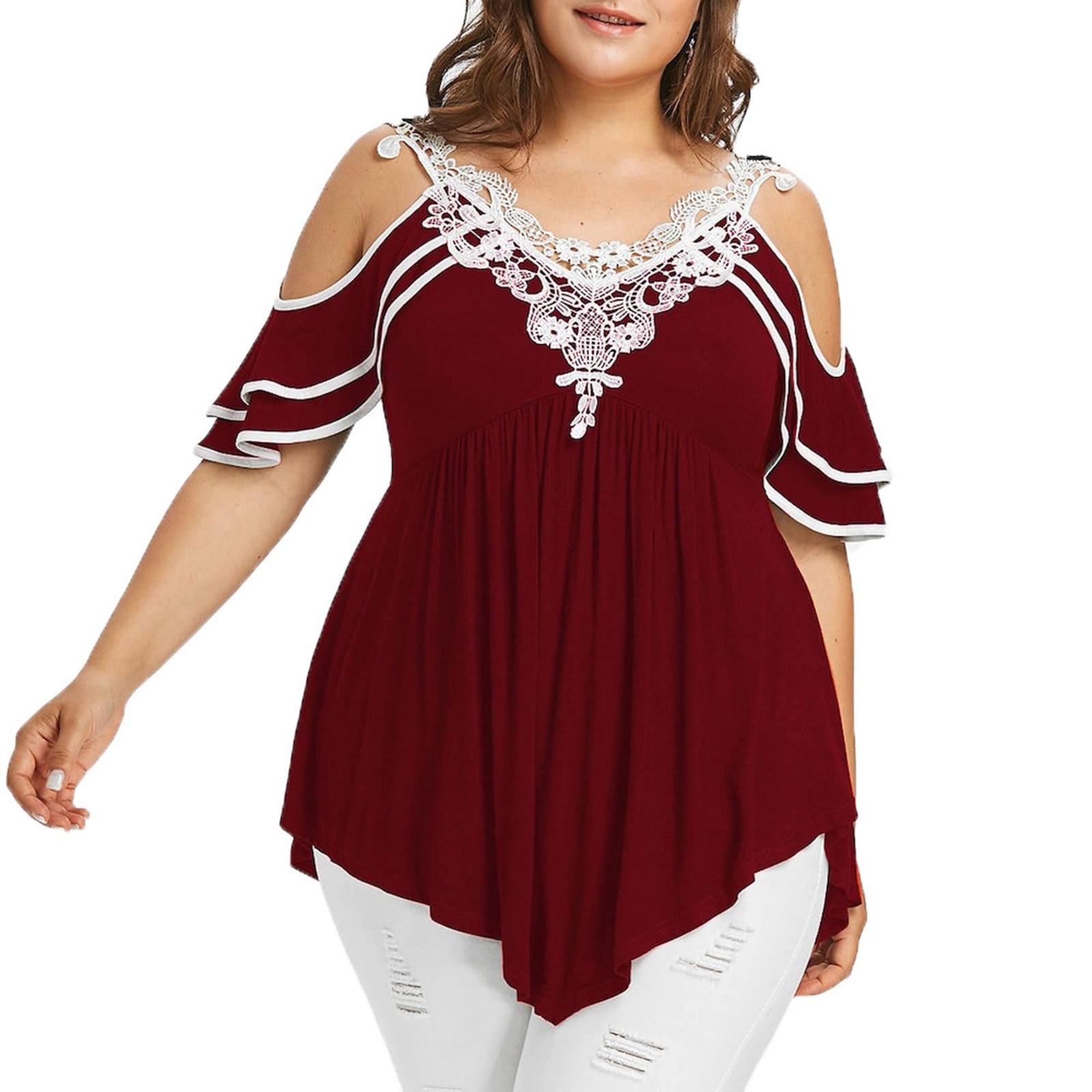 Plus Size Lotus Leaf Woman T Shirt Hollow Strapless Summer Solid Color Irregular Hem Contrasting V Neck Stitching Tops Ladies