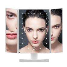Espejo con pantalla táctil de luz 21 luces LED espejo de maquillaje 1X/2X/3X espejo de tocador cosmético de aumento Flexible