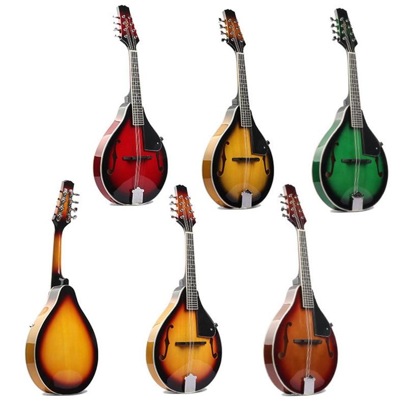 Mandolina acústica de cuatro cuerdas instrumento Musical occidental mandolina cuerda de acero agujero redondo MDL01