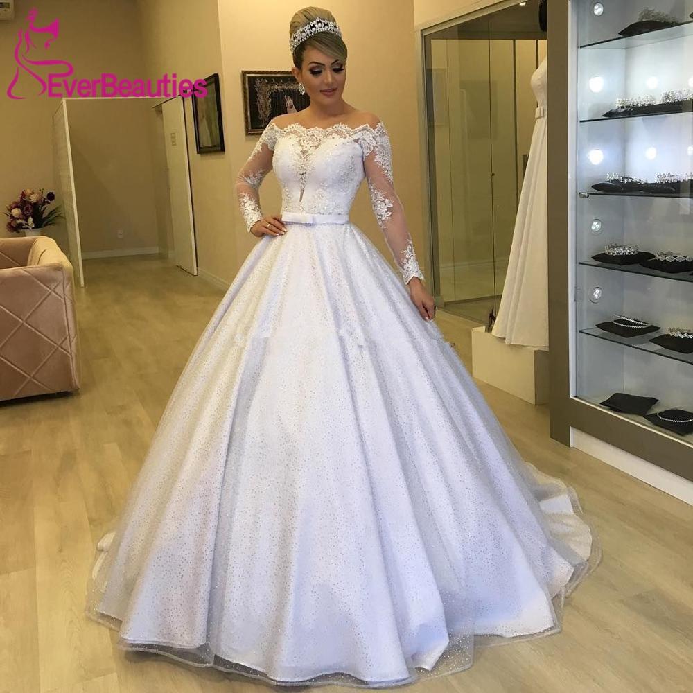 Кружевные свадебные платья-трапеции с аппликацией и длинным рукавом, свадебные платья до пола с пуговицами на спине, 2020