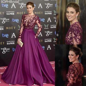 New A-Line Evening Dress Illusion Long Sleeves Appliques Bead Muslim Islamic Dubai Saudi Arabic Long Evening Gown Prom Dress