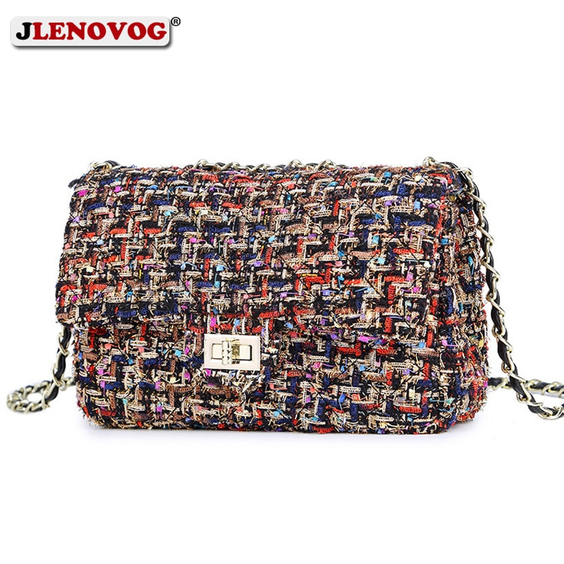 Womens Wool Plaid Handbag Double Flap Lattice Handbag Purse 2020 Classic Luxury Tweed Crossbody bag Chain Shoulder Bag for Women