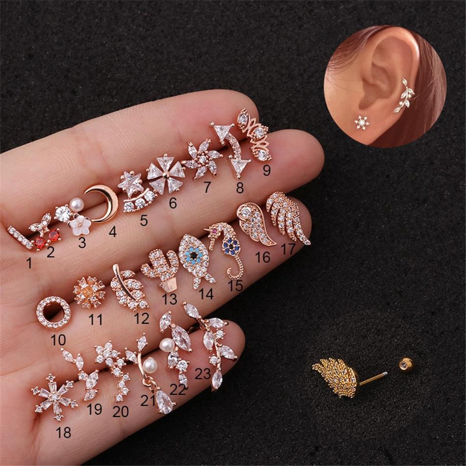 TTLIFE Stainless Steel Moon Flower Dainty Cz Ear Tragus Daith Cartilage 20G Piercing Jewelry CZ Ear Daith Cartilage Piercing