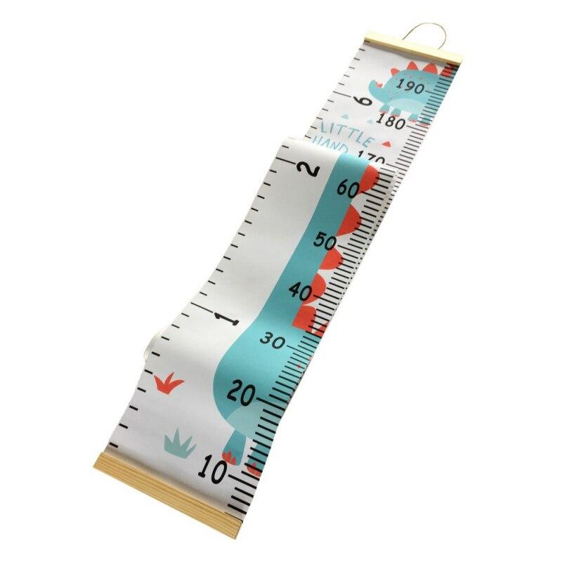 Regla de medición de altura de lona colgante práctica tabla de crecimiento para niños regla de decoración de pared con marco de madera registro de altura para niños