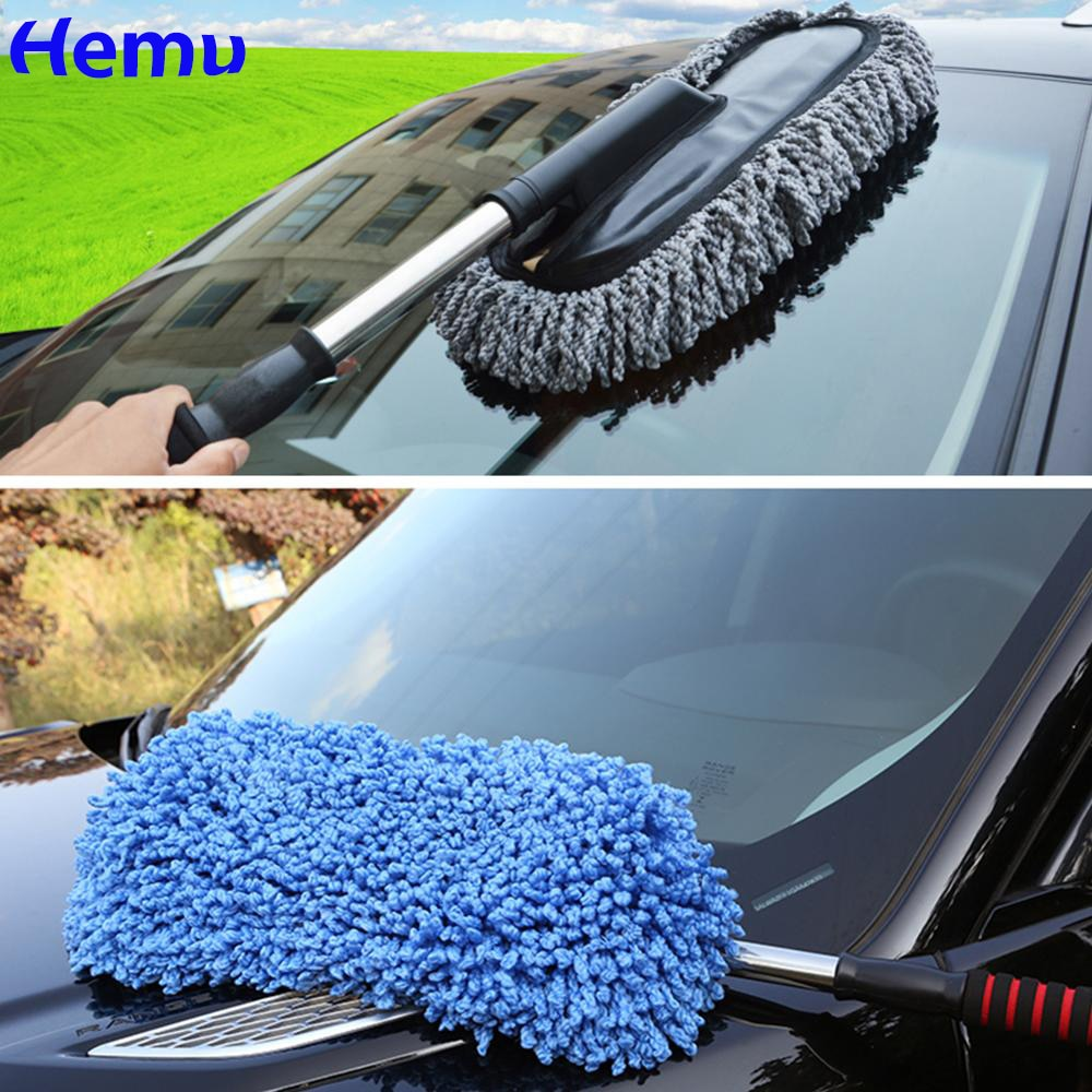 1pc microfiber telescoping car body duster wax dust mop cleaning brush cotton nanofiber car microfiber dust grey brush 13 5x40cm Upgrade Car Retractable Wax Tow Microfiber Dust Cleaning Brush  Car room dual purpose dust cleaning broom Car cleaning supplies