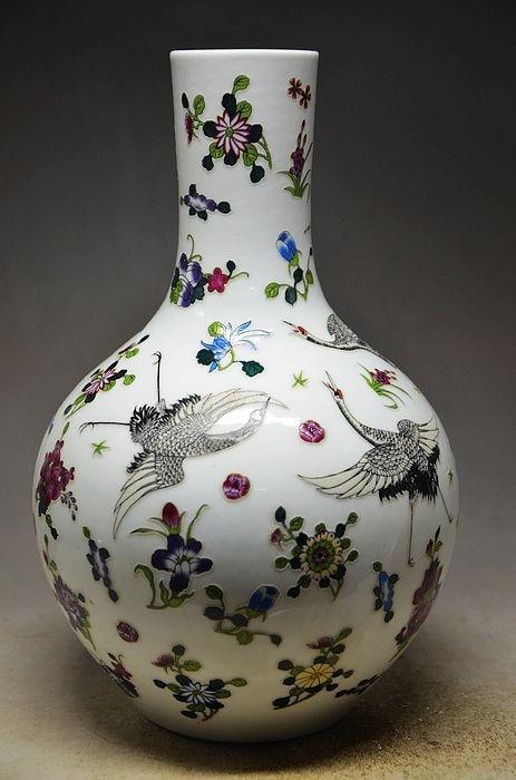 ¡Marca cerámica china pájaros grúa Zun taza botella maceta jarrón decoración!
