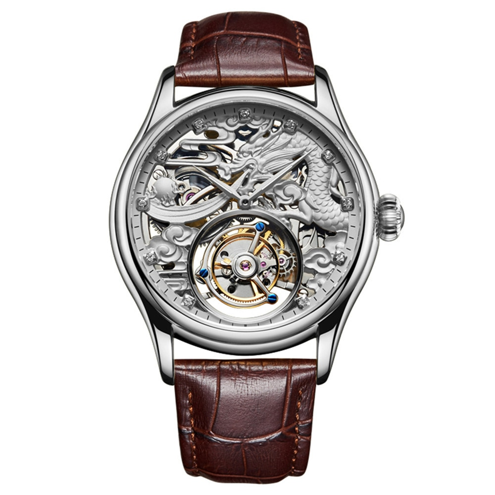 Guanqin-ساعة ميكانيكية للرجال ، توربيون حقيقي ، هيكل عظمي ، جلد مقاوم للماء ، مضيئة ، علامة تجارية أصلية 2020 ، فاخرة