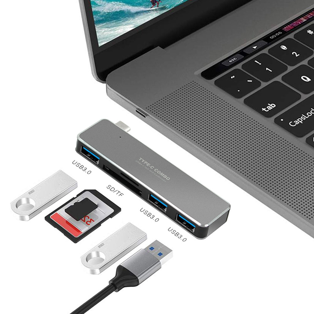 5-In-1 TypeC Hub To USB3.0 Adapter TF/SD Card Reader 5Gbps Aluminum Alloy Transmission Rate 480Mbps Plug And Play External Drive