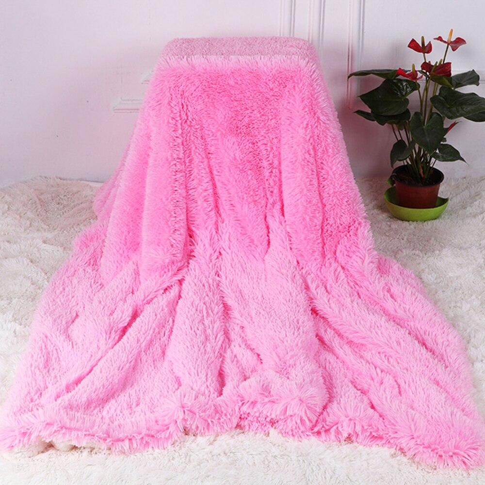 البطانيات لينة فو الفراء رقيق رمي بطانية ل أريكة تتحول لسرير الشتاء المفرش طويل أشعث لينة الدافئة ورقة الفراش البطانيات الدافئة