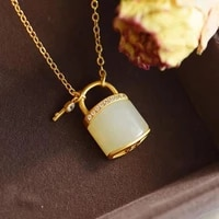 new s925 silver inlaid hetian jade small lock chain necklace female pendant ancient gold craft long lasting color retention