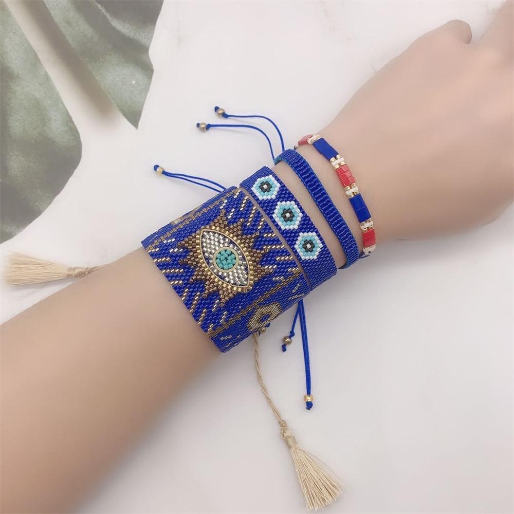 Zhongvi méxico pulseira feminina pulseras mujer moda 2020 miyuki jóias turco mau olho pulseiras artesanal braçadeira de cristal novo