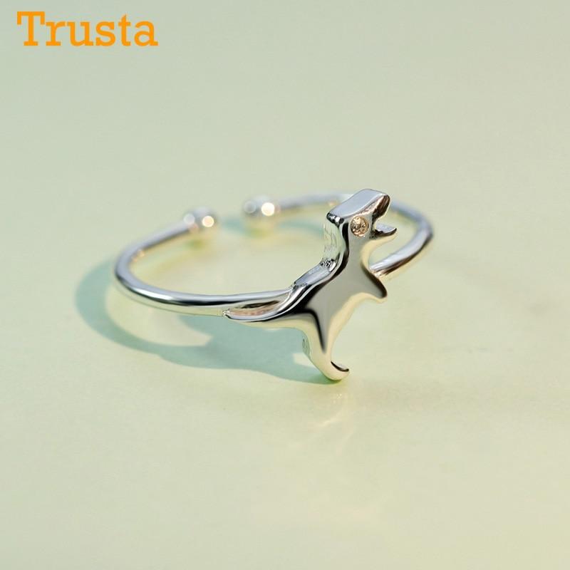Trustdavis 100% 925 Solid Real Sterling Silver Women Lady Jewelry Dinosaur Ring Opening Size 5 6 7 Love Gift Girls Lady DA115