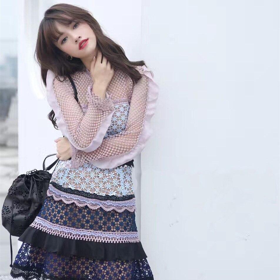 Auto Portrait Floral évider volants robe en dentelle multicolore épissage couche gâteau robe femmes Crochet à manches longues robe courte