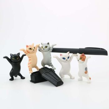 Cat pen holder black cat without coffin bracket Kids Funny Cat Pen Holder Kids Adult Doll Toy Gift Weightlifting Cat Pen holders