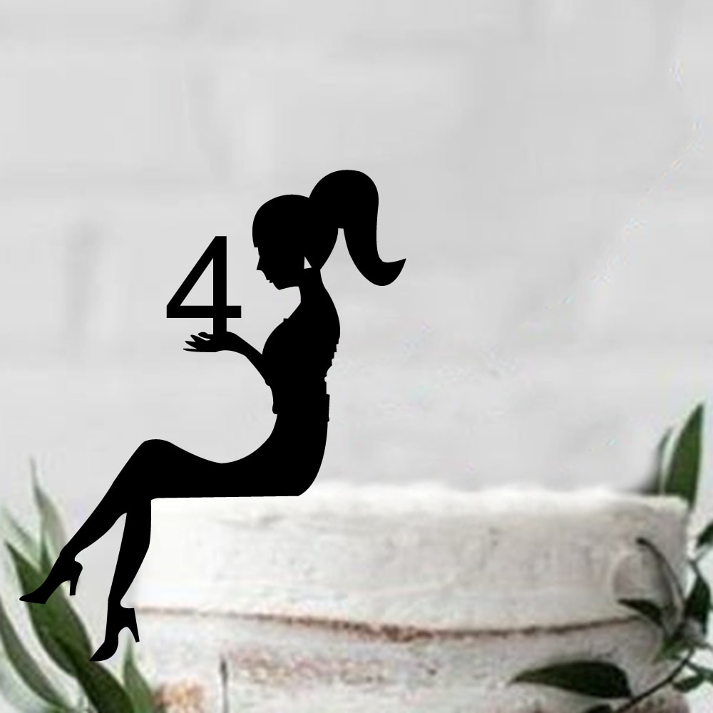 Custom Personalized  Sex girl Sitting silhouette Birthday cake topper, Acrylic Black Cake Topper ,Girl Birthday Party Decor
