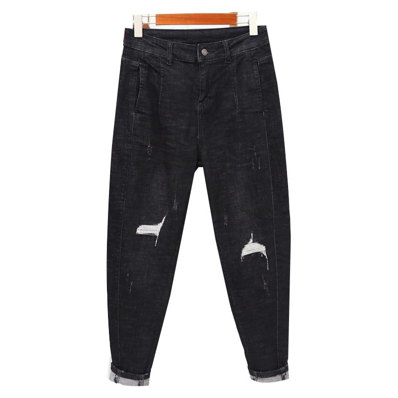High Waist Plus Size Boyfriend Jeans For Women Mom Jeans Vintage Ripped Hole Streetwear Denim Pants Female Jeans Trousers недорого