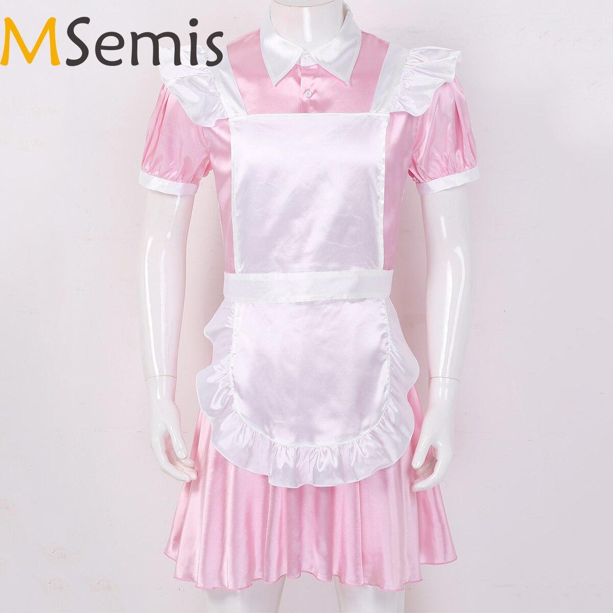 Msemis homens adultos sissy maid vestido cosplay outfit sexy halloween traje sexy crossdressing sexy vestido masculino com avental bandana