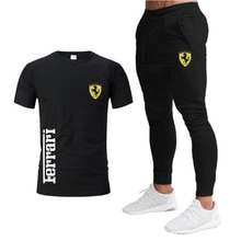 Ferrari summer men's round neck T-shirt and pants men's suit sports fitness 2021 hot new