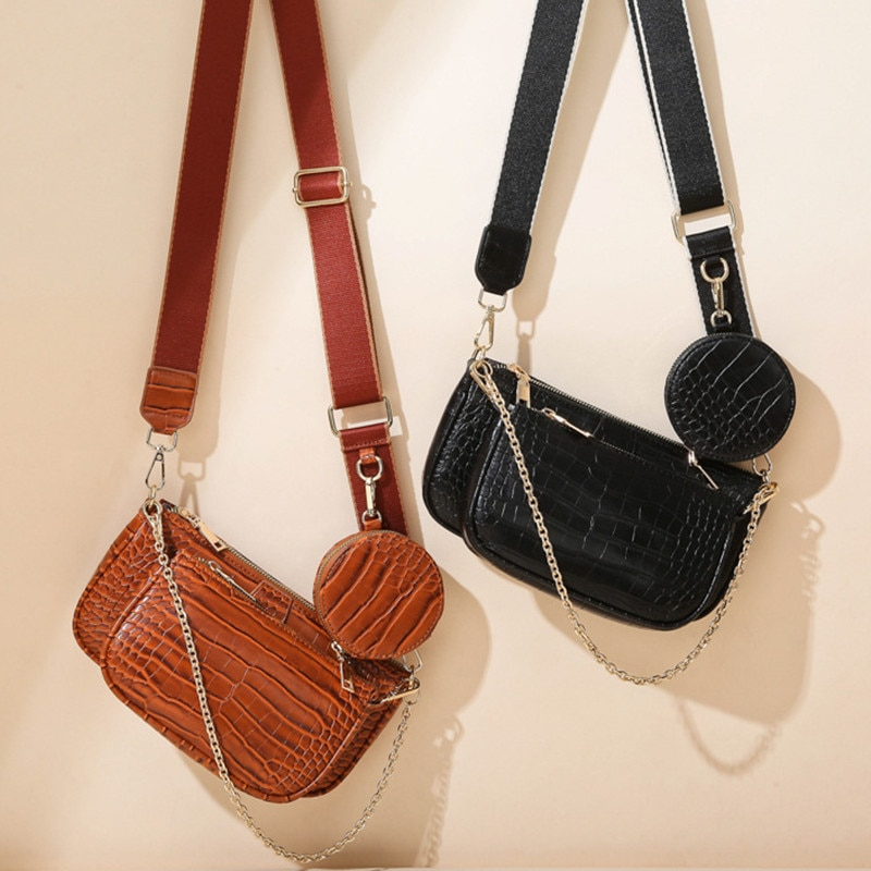 2021 NEW Woman's Fashion Chain Shoulder Bag Crocodile Assembled Small Crossbody Bag Casual Female Multi-purpose 3 in 1 Set Bag