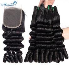 Moxika Ocean pasma falowanych włosów z zamknięciem podwójne wyciągnąć Remy Fumi malezyjski włosy wyplata wiązki z zamknięciem człowieka wiązki włosów