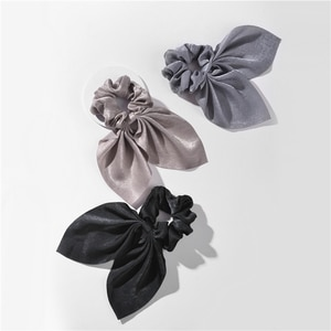 LUNA CHIAO 2020 Winter Trendy Women Accessories Solid Color Fabric Mini Size Hair Scarf Ponytail Holder