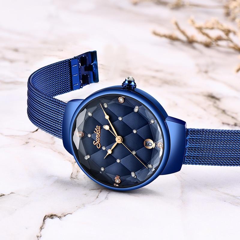 SUNKTA Fashion Luxury Bracelet Women Watches Diamond Waterproof Blue Full Steel Quartz Watch Womens Gift Clocks Relogio Feminino enlarge