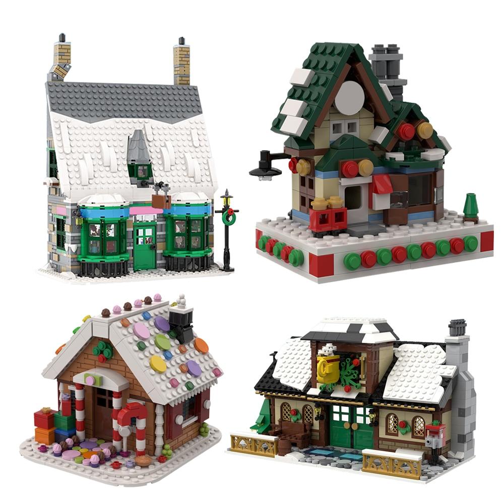 Конструктор MOC Home разные цвета, конструктор для дома, в стиле мини-деревня, кафе, почтовое отделение, детские игрушки, подарок