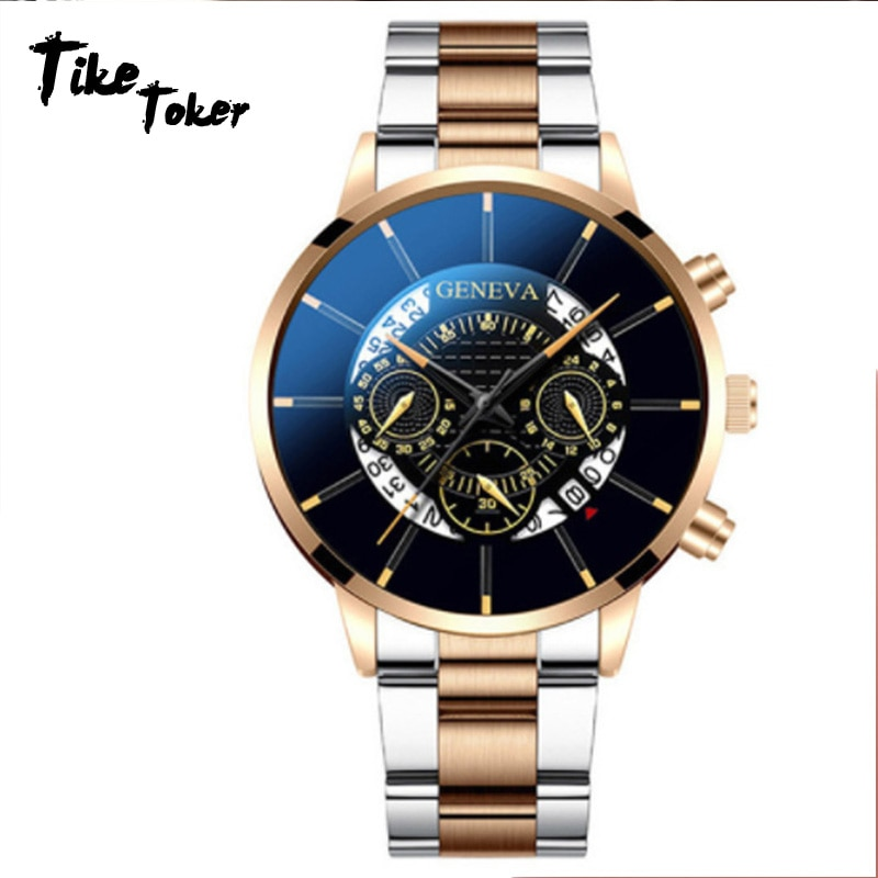 Модные мужские часы 2021, кварцевые классические черные стальные наручные часы, роскошные деловые часы с календарем на ремешке, мужские подар...