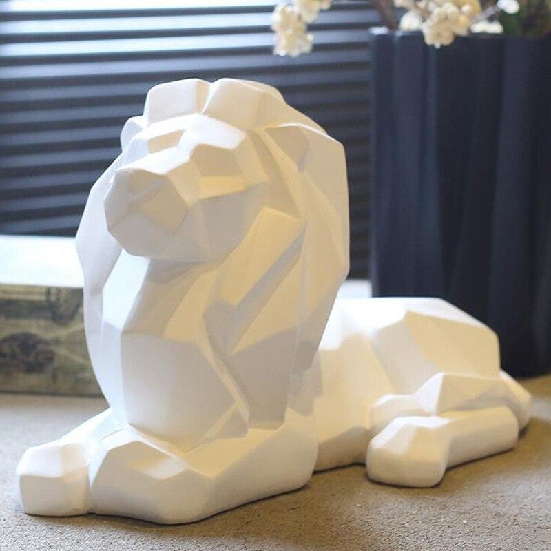 Escultura Moderna de Origami León abstracto, artesanía, estatua de resina Animal, figura de estilo geométrico, decoración de escritorio para el hogar, oficina, A1731