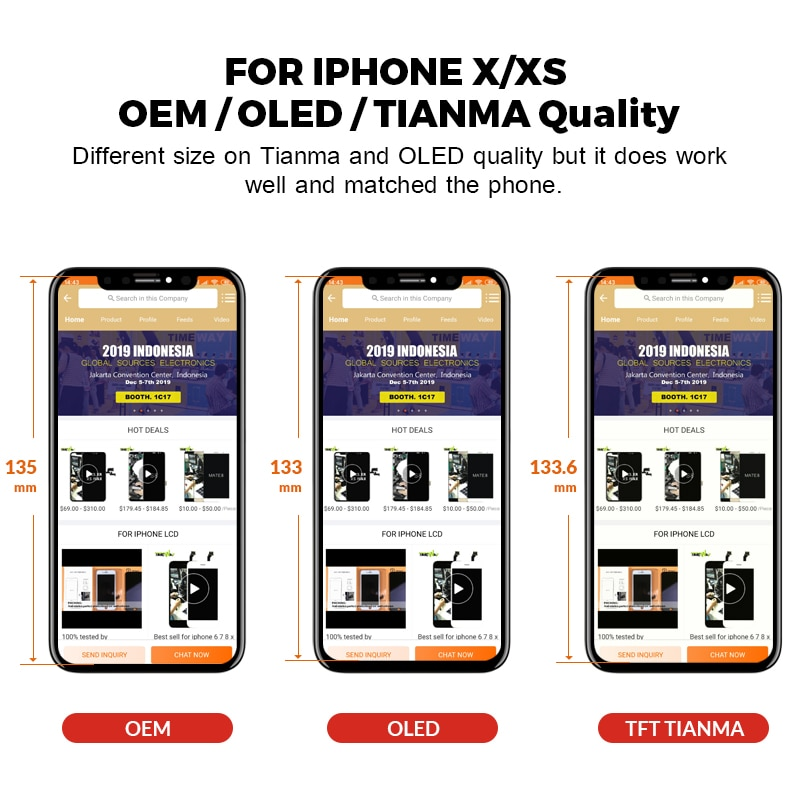 For iPhone X XS Max XR LCD Display OLED With 3D Touch Digitizer Assembly No Dead Pixel LCD Screen Replacement Display Screen enlarge