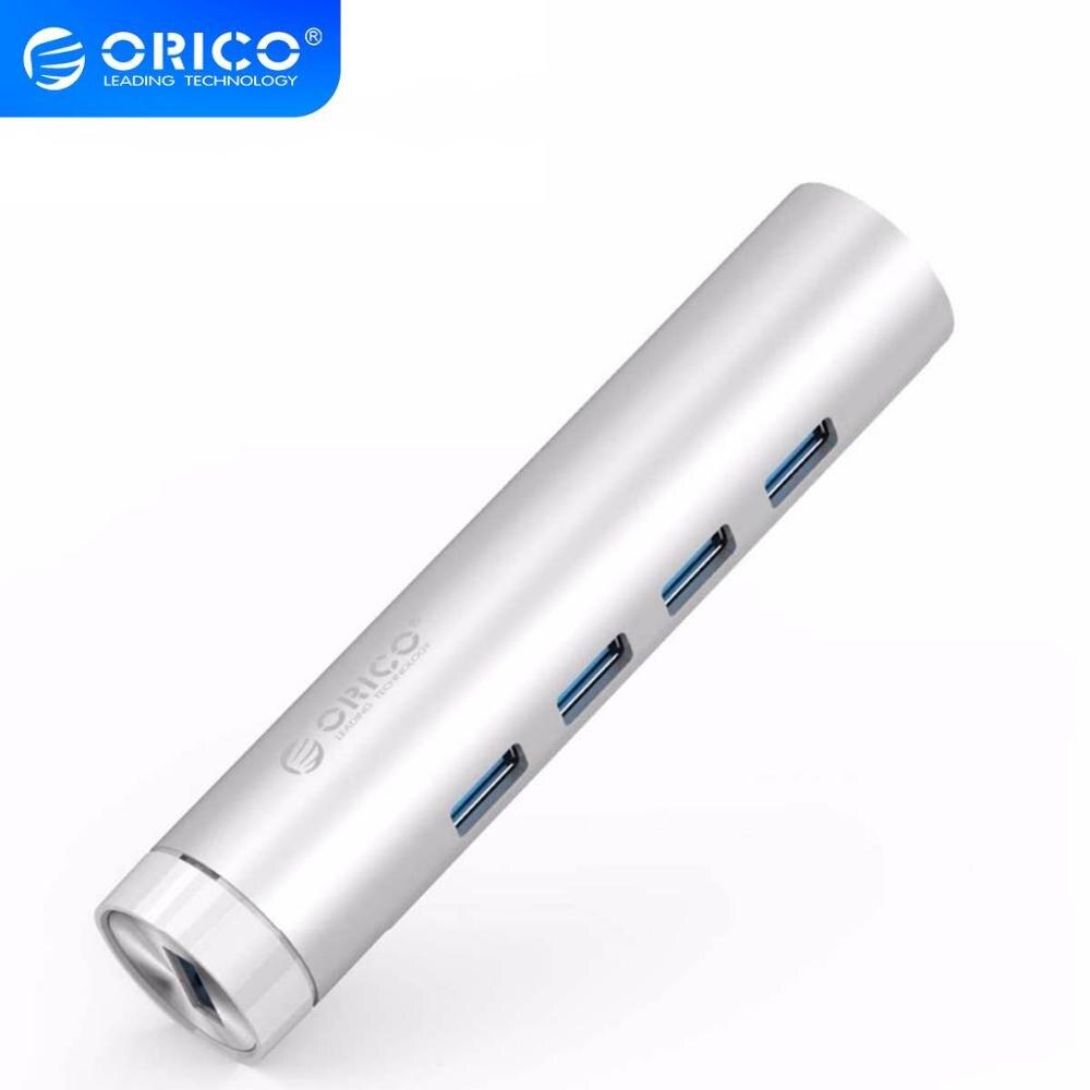 ORICO HUB USB 3,0 de 4 puertos portátil LED USB Micro USB 3,0 HUB Splitter con adaptador de corriente para PC 5Gbps divisor USB HUB