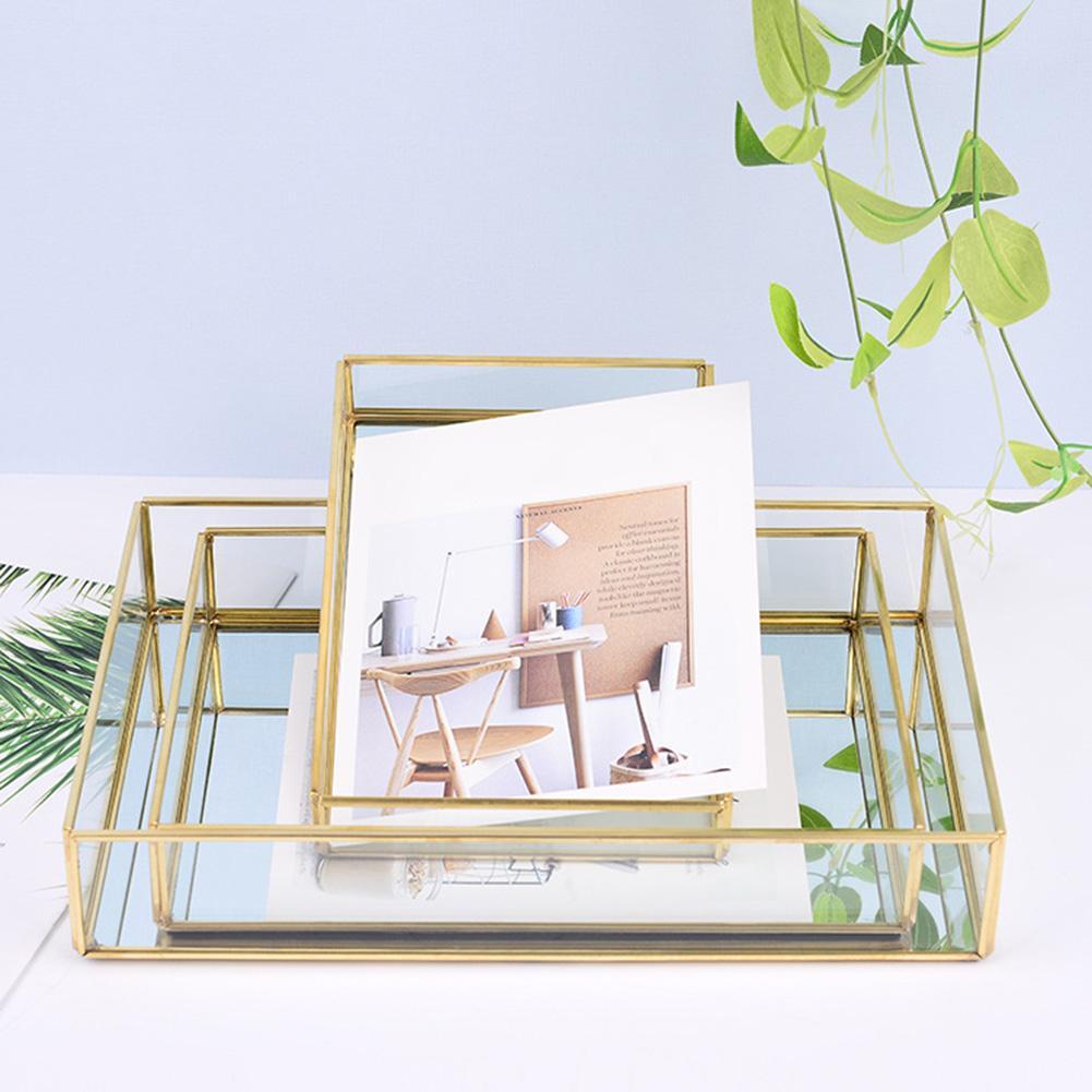 Прямоугольная подставка для хранения косметики, органайзер, стеклянная тарелка, держатель для ювелирных изделий, Декор