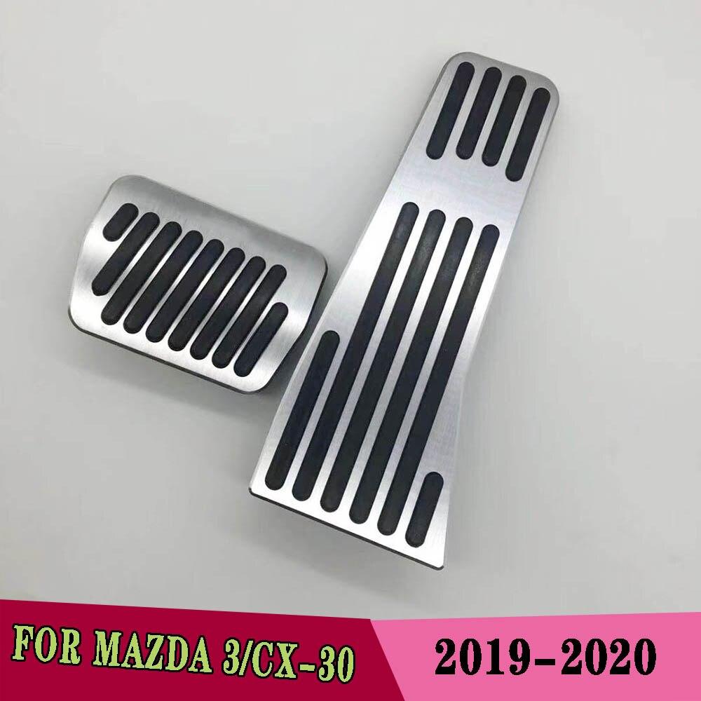 Aluminium legierung Auto Accelerator Gas Pedal Bremse Pedale platte Abdeckung Non Slip Pad Abdeckung AN Für Mazda 3 CX-30 2019 2020
