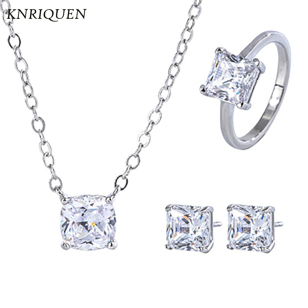 Wedding Jewelry Sets Classical 925 Sterling Silver High Carbon Diamonds Created Moissanite Earrings Ring Necklace for Grilfriend