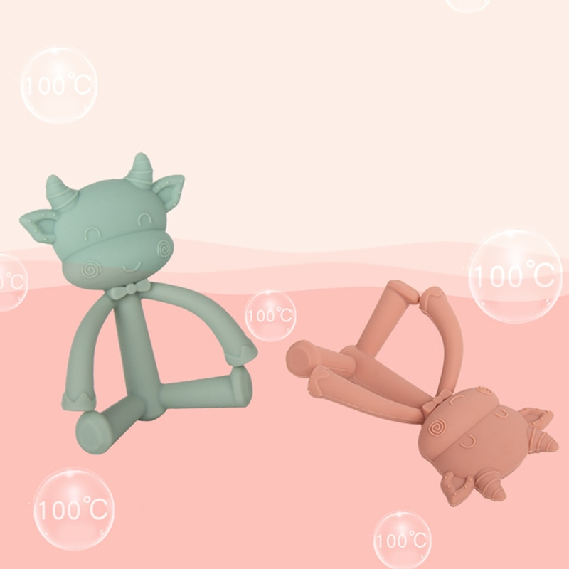 Baby Teething Toys Mother Baby Supplies Innovative Three-dimensional Baby Teether Bite Molar Rod Food-grade Silicone Molar 3PCS enlarge