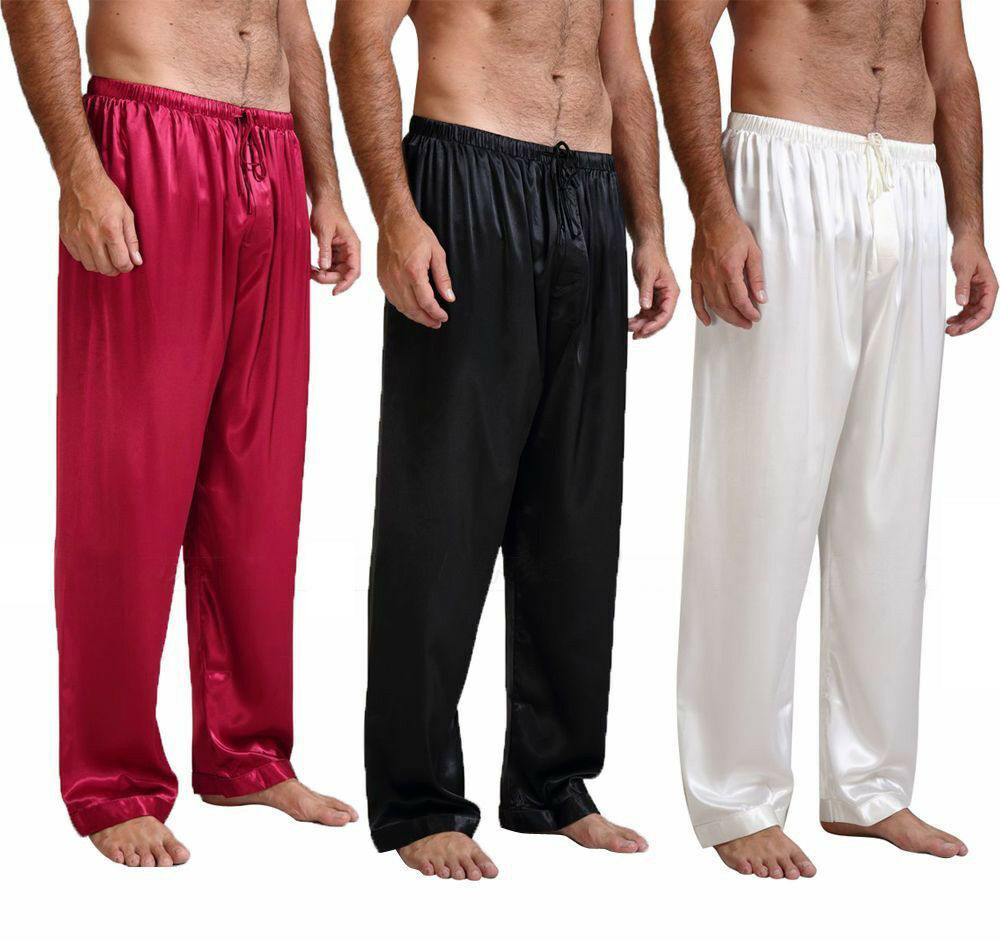 New Men's Silk Satin Pajamas Bottoms Solid Loose Pyjamas sexy underwear Sleep Bottoms Lounge Pants N