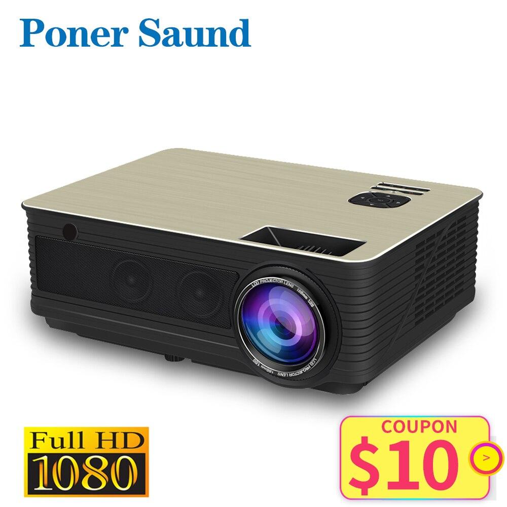 Poner-Saund M5 LED Projector ، Full HD ، 1080P ، 3D ، Android 6.0 ، 4500 Lumens Projektor ، HDMI ، USB ، WiFi ، Bluetooth