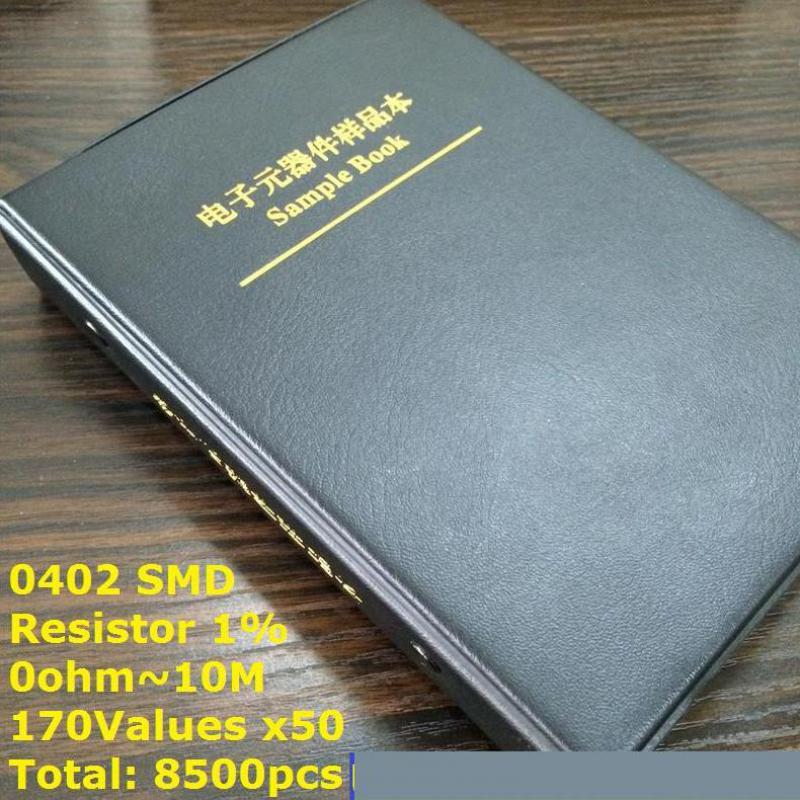 0402 SMD المقاوم عينة كتاب 170 القيم * 50 قطعة = 8500 قطعة 1% 0ohm إلى 10M رقاقة المقاوم حلو كيت