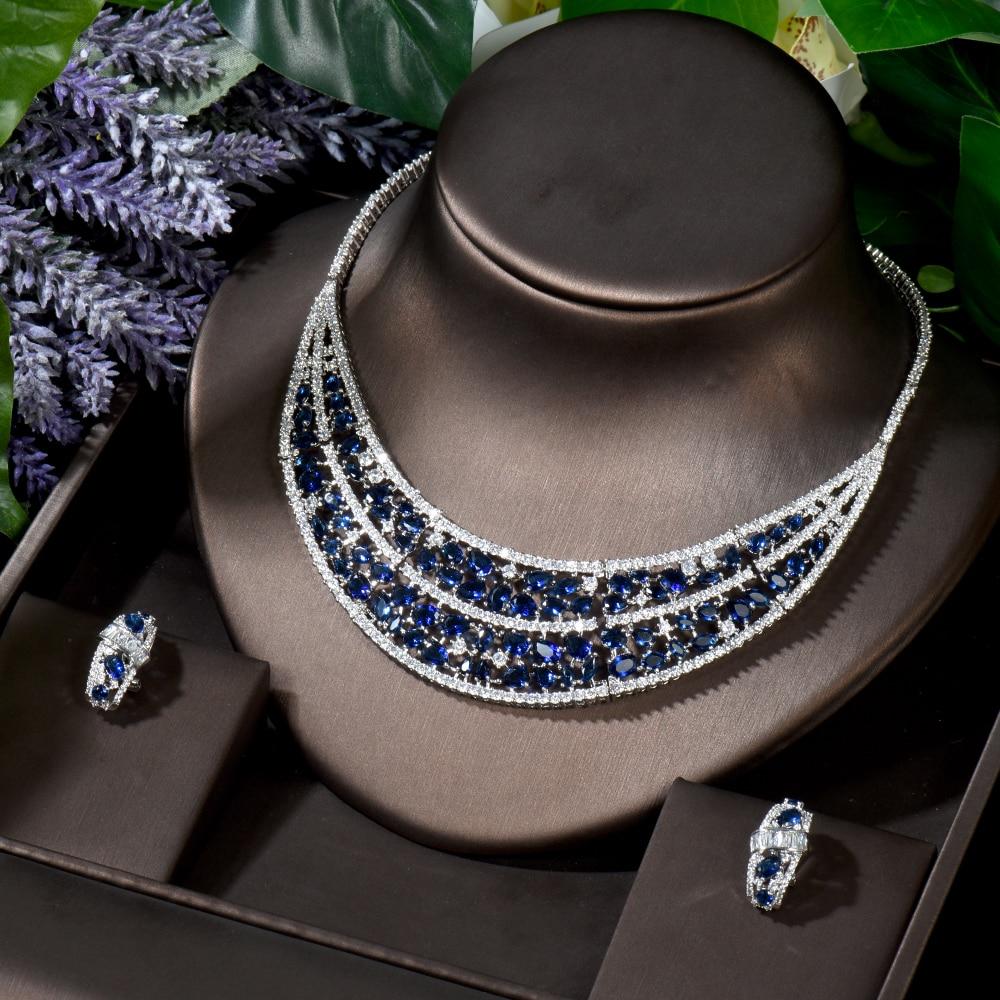 HIBRIDE الفاخرة 2 قطعة الأزرق هندسية دبي الزفاف مجموعات مجوهرات مربط القرط سحر بيان تشيكوسلوفاكيا قلادة مجموعات بالجملة N-879