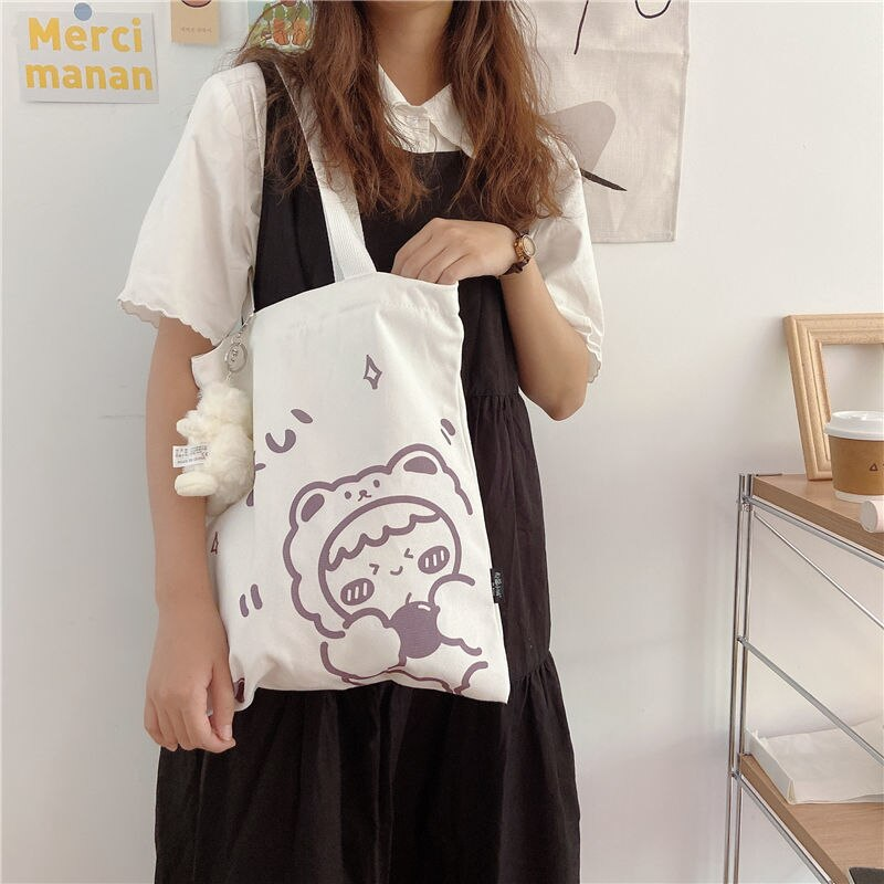 Cute Cartoon Animal Ladies Reusable Shopping Bags Large Capacity Student Girls Book Casual Tote Simple Fashion Female Handbags