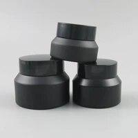 10pcs 15g 30g 50g empty matte black jar skin care cream jar small 12oz 1oz glass bottle cosmetic jar with black lid screw cap