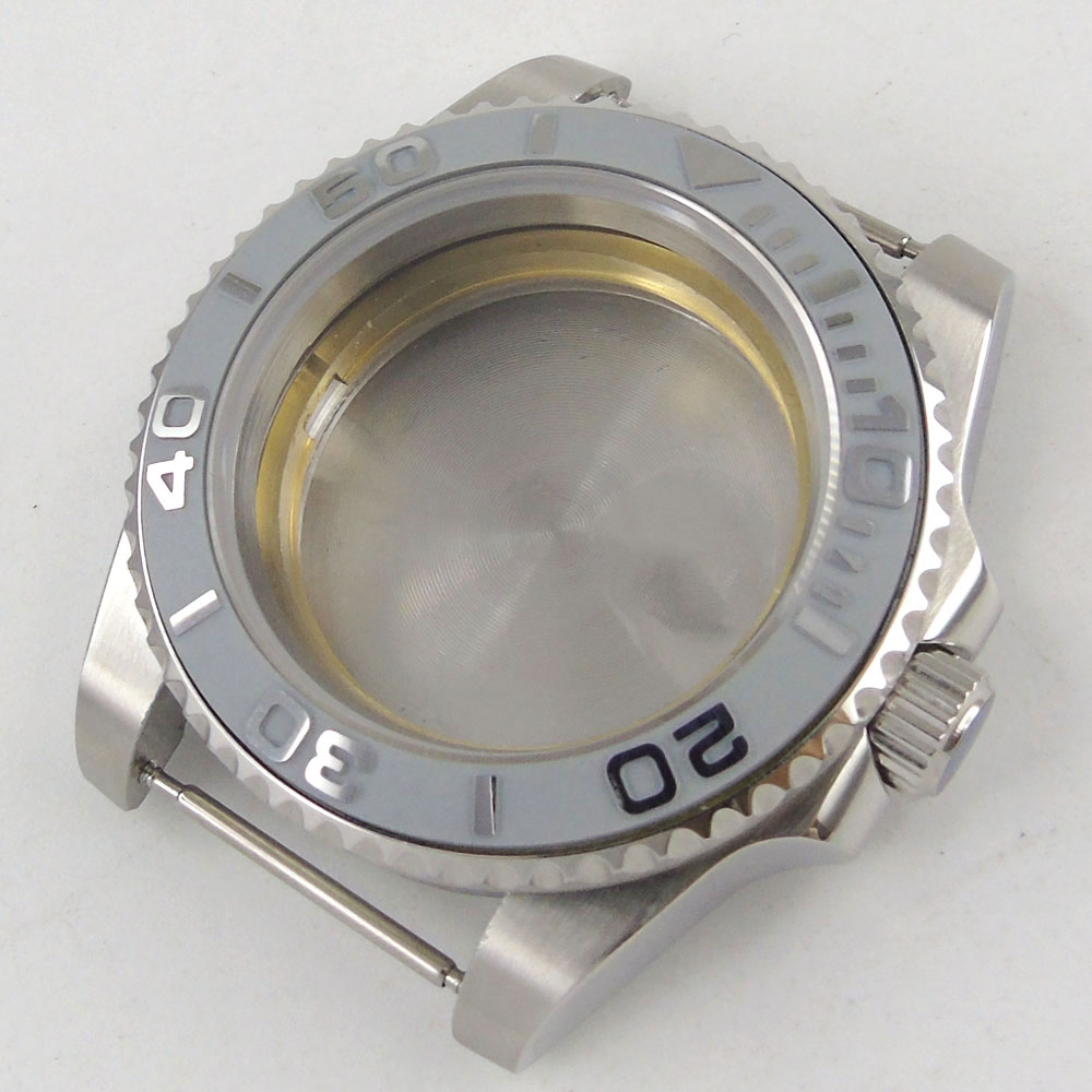 Ajuste NH35/NH36 movimiento automático reloj caso zafiro cristal sin lupa gris cerámica bisel insertar ver cubierta trasera