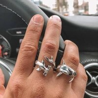 new creative animals shark rings silver color fashion adjustable opening metal ring punk style party jewelry1 set