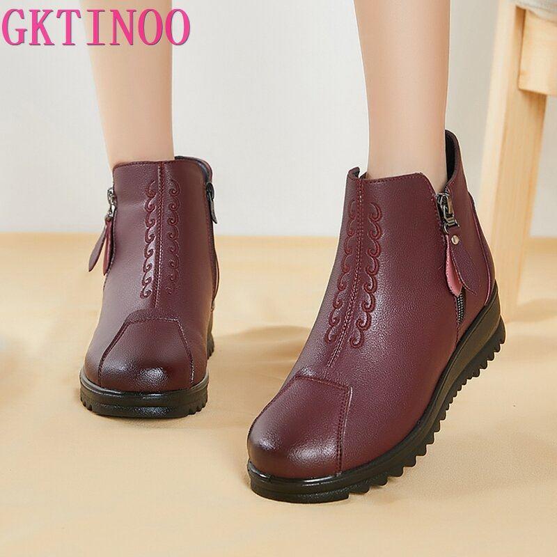 GKTINOO Winter Leather Women Flat Warm Boots Ladies Side Zip Casual Ankle Snow Boots Women Waterproo