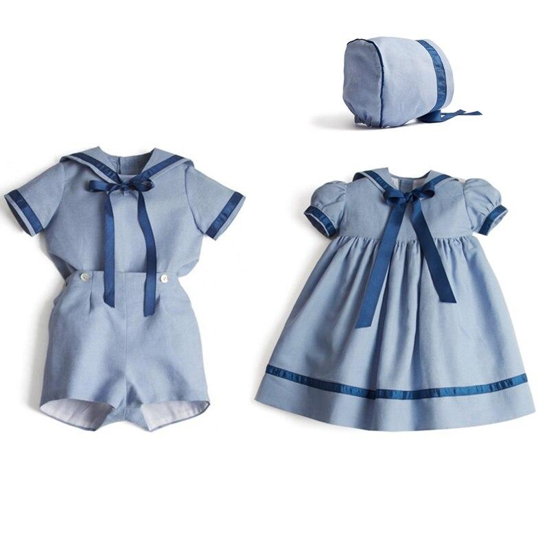 الاسباني الطفل شقيق مطابقة وتتسابق الفتيات فستان الفتيان مجموعات الشاش ملابس للأطفال أطقم ملابس للفتيات طفل رضيع مجموعات