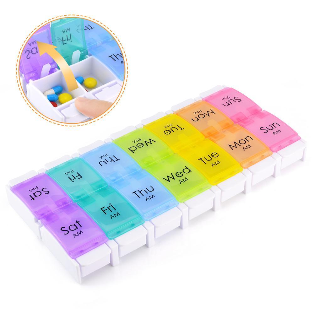 7 Days Weekly Pill Box Case Pill Container Medicine Box Dispenser Splitter Drugs Pill Organizer Bottle Case Holder