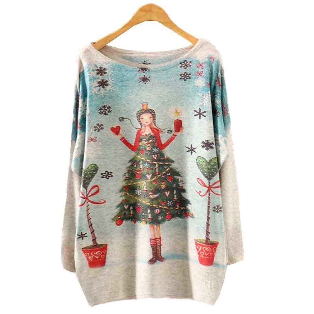 Suéteres de Navidad mujeres Año Nuevo Jersey de punto invierno Santa Claus imprimir Jumper partes de arriba sueltas de manga larga cálida blusa de punto 918