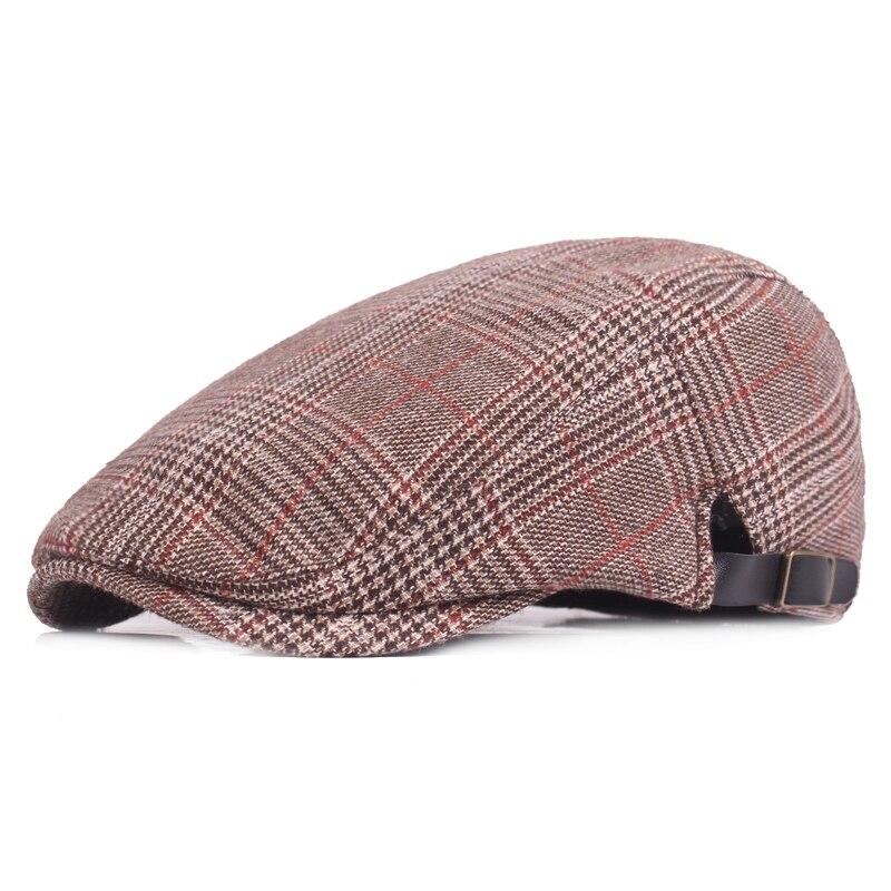 Классические мужские шапки-береты, кепки для женщин и мужчин, кепки с плоским верхом в клетку, кепки s, Повседневная Кепка с козырьком, кепка ...
