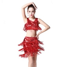 Sexy Stage Dancewear Clothing Tassel Sequin Tank Tops+ Skirt+Gloves 3pcs Set Women Stage Modern Cost